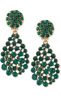 Oscar de la Renta Bold Pearcut Cluster Drop Clipon Earrings Emerald Green - Lyst