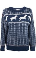 Band Of Outsiders Navy Faire Isle Horses Sweater - Lyst