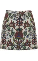 Topshop Womens Botanical Embroidered Aline Skirt  Cream - Lyst