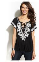 Inc International Concepts Embroidered Beadembellished Peasant Top - Lyst