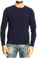 Fred Perry Sweater Lambswool Crewneck with Patches - Lyst
