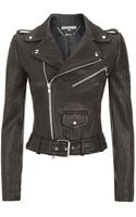 Alexander McQueen Cropped Leather Biker Jacket - Lyst