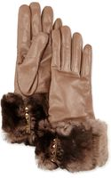 Valentino Fur-trimmed Pyramid Stud Leather Gloves - Lyst