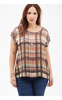 Forever 21 Tartan Plaid Woven-paneled Top - Lyst