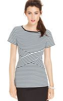 Eci Shortsleeve Striped Top - Lyst