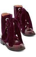 Jeffrey Campbell Velvet Wonder-bound Boot in Burgundy - Lyst