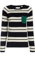 Chinti And Parker Navy Cashmere Snug Stripe Jumper - Lyst