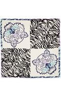Kenzo New Tiger Head Stripes Scarf Ivoryblack - Lyst