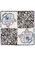Kenzo New Tiger Head Stripes Scarf Ivoryblack - Lyst