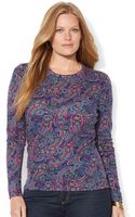 Lauren by Ralph Lauren Plus Size Long Sleeve Paisley Print Top - Lyst