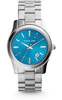 Michael Kors Runway Turquoisedial Silvertone Stainless Steel Watch - Lyst
