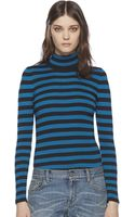 Gucci Striped Silk Cashmere Turtleneck Sweater - Lyst