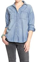 Old Navy Boyfriend Chambray Buttonfront Shirts - Lyst