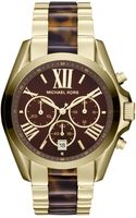 Michael Kors Womens Chronograph Bradshaw Tortoise and Goldtone Stainless Steel Bracelet Watch 43mm - Lyst