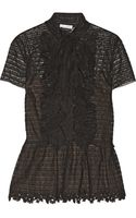 Oscar de la Renta Lace and Tulle Blouse - Lyst