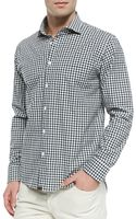 Billy Reid Ginghamcheck Buttondown Shirt Navy - Lyst