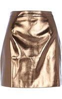 River Island Bronze Metallic Leatherlook Mini Skirt - Lyst