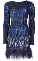Matthew Williamson Liquid Sequin Feather Trimmed Mini Dress - Lyst