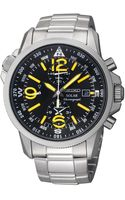 Seiko Mens Chronograph Solar Stainless Steel Bracelet Watch 42mm Ssc093 - Lyst