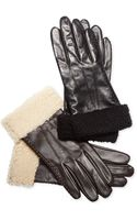 Lauren by Ralph Lauren Shearling Cuff Leather Gloves - Lyst