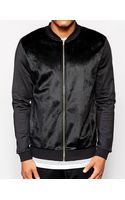 Asos Bomber Jacket in Jersey with Faux Fur Front - Lyst