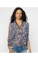 Denim & Supply Ralph Lauren Sleeveless Floralprint Highlow Top - Lyst