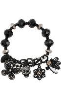 Betsey Johnson Skull and Butterfly Stretch Charm Bracelet - Lyst