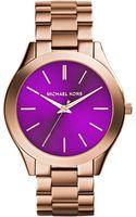 Michael Kors Womens Slim Runway Rose Goldtone Stainless Steel Bracelet Watch 42mm - Lyst