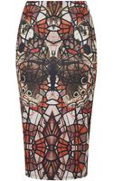 Topshop Mirror Butterfly Tube Skirt - Lyst