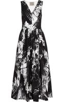 Preen By Thorton Bregazzi Vertigo Printed Stretch Crepe Midi Dress - Lyst
