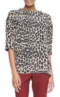 Etro Leopard Print Elbow Sleeve Top - Lyst