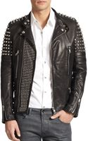 Diesel Black Gold Studded Leather Biker Jacket - Lyst