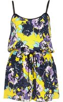 River Island Yellow Embellished Floral Print Playsuit - Lyst