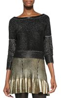 Ohne Titel Shimmery Metallic Knit Boat Neck Sweater  - Lyst