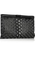 Miu Miu Eyelet and Swarovski Crystalembellished Leather Clutch - Lyst