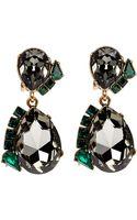 Oscar de la Renta Green Crystal Teardrop Clipon Earrings - Lyst