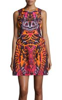 McQ by Alexander McQueen Abstractprint Foldpleated Dress Terracotta 40 - Lyst
