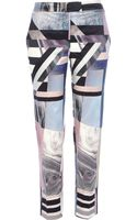 River Island Pink Abstract Print Cigarette Trousers - Lyst