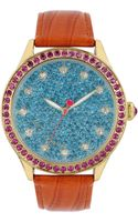 Betsey Johnson Ladies Teal Crystal Dial Watch with Orange Leather Strap - Lyst