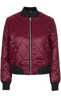 Topshop Shiny Quilted Bomber Jacket - Lyst