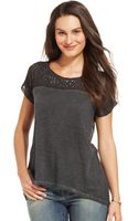 DKNY Shortsleeve Mixedmedia Sequin Top - Lyst