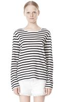 Alexander Wang Striped Linen Cotton Long Sleeve Tee - Lyst