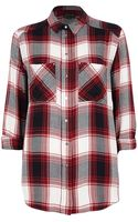 River Island Red Check Boyfriend Shirt - Lyst