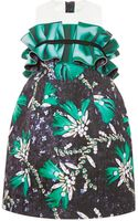 Mary Katrantzou Ruffled Printed Satin Dress - Lyst