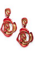 Oscar de la Renta Hand Painted Rose Clip On Earrings - Lyst