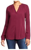 Old Navy Splitneck Coveredplacket Blouses - Lyst