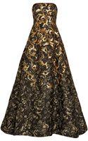 Oscar de la Renta Embroidered Floral Cloqué Gown - Lyst