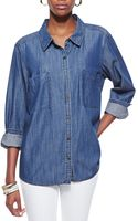 Eileen Fisher Longsleeve Denim Shirt - Lyst