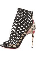 Christian Louboutin Mille Cinque Python Lattice Red Sole Bootie - Lyst