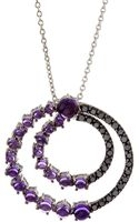 Roberto Coin Black Diamond and Amethyst Circle Pendant Necklace - Lyst